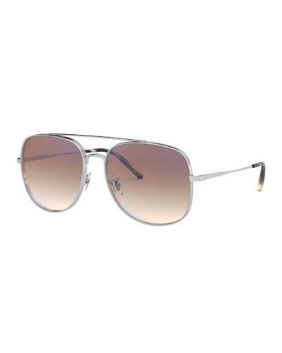 Taron Square Aviator Metal Sunglasses