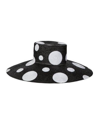 Dotty Wide Brim Luncheon Hat