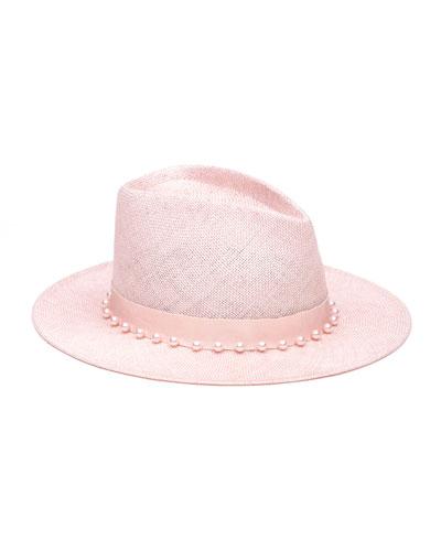 Blaine Pearly Embellished Sisal Fedora Hat