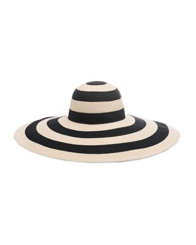 Sunny Striped Wide-Brim Hat