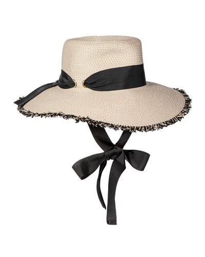 Aruba Fringe Sun Hat w/ Chin Tie