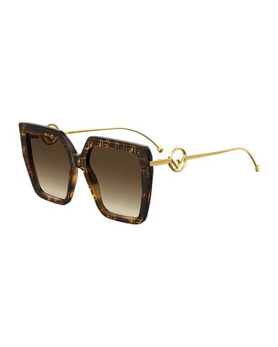 Square FF Pattern Acetate Sunglasses