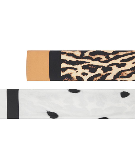 Dual Animal Print Skinny Silk Scarf