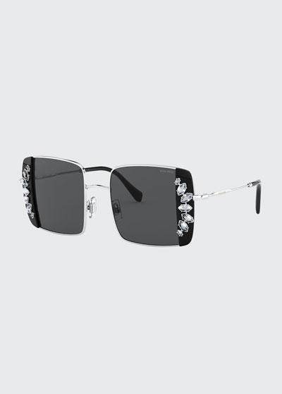 Crystal Trim Rectangle Sunglasses
