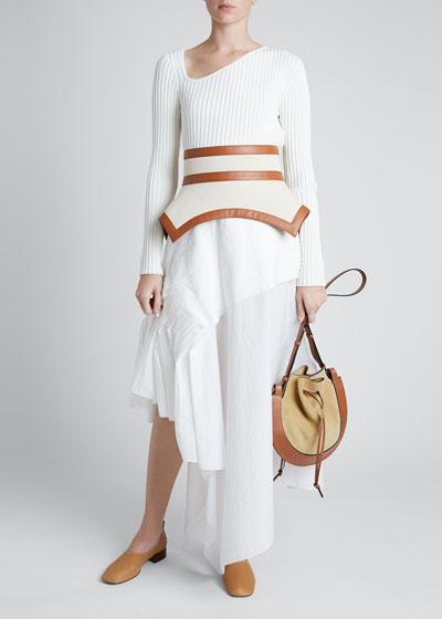 Leather-Trim Canvas Peplum Belt