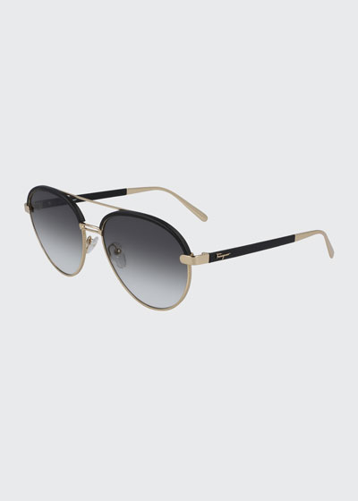 Metal & Leather Aviator Sunglasses