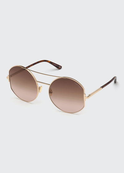 Dolly Round Gradient Metal Sunglasses
