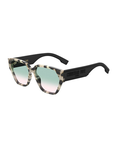 DiorID1 Square Acetate Sunglasses w/ Logo Arms