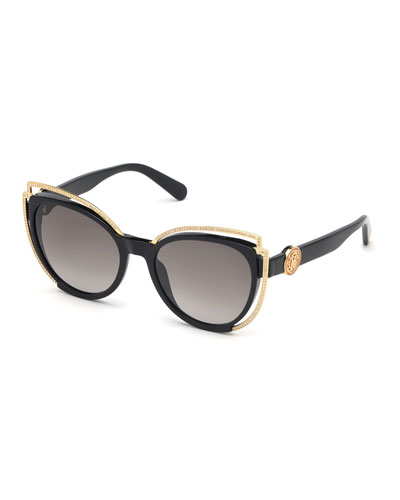 Crystal Studded Cat-Eye Sunglasses