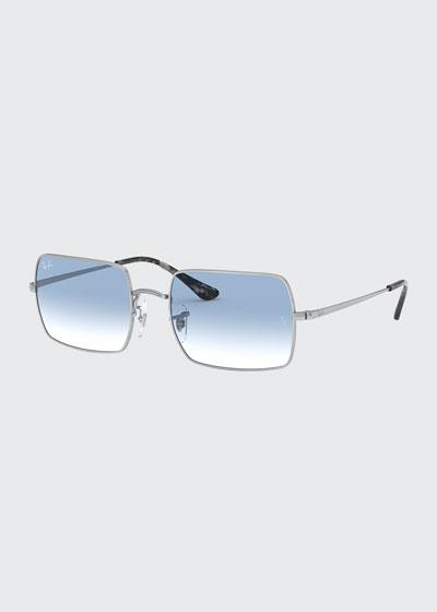 Rectangle Gradient Metal Sunglasses