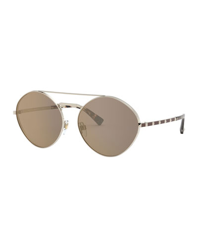 Round Metal Sunglasses w/ Rockstud Arms