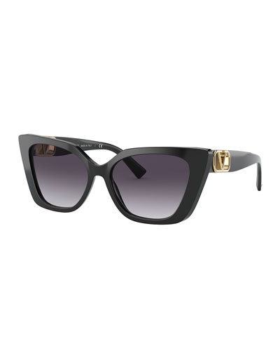 Cat-Eye Acetate Sunglasses w/ Golden V Temples