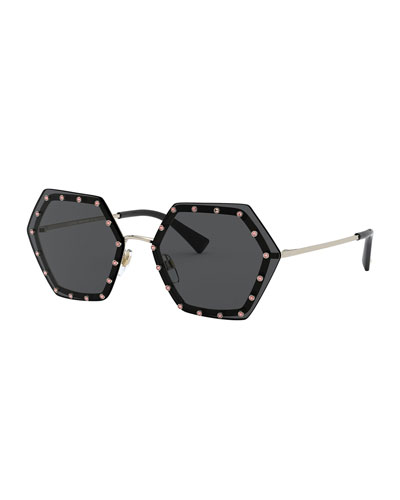 Crystal Lined Rimless Hexagon Sunglasses