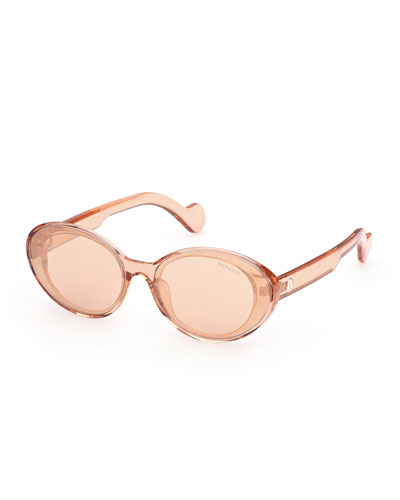 Oval Mirrored Acetate Sunglasses