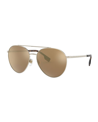 Aviator Steel Sunglasses w/ Check Arms