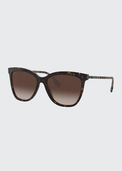 Square Acetate Sunglasses w/ Check Arms