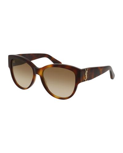 Gradient Cat-Eye Sunglasses, Brown Havana