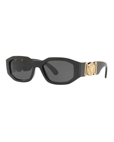 Chunky Rectangle Sunglasses w/ Logo Disc Arms