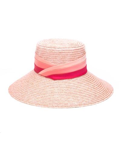 Annabelle Straw Sun Hat w/ Pleated Satin Band