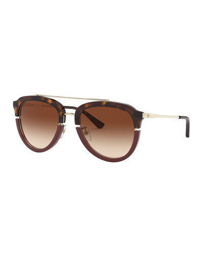 Metal/Acetate Brow-Bar Sunglasses with Split Rim