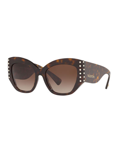 Acetate Crystal-Trim Butterfly Sunglasses