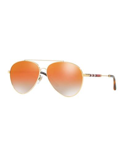 Metal Check-Temple Aviator Sunglasses