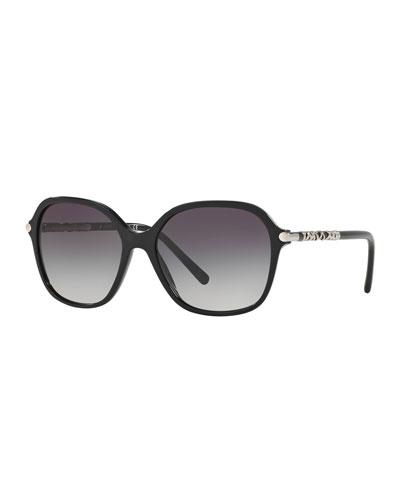Square Acetate Sunglasses with Lattice Temple