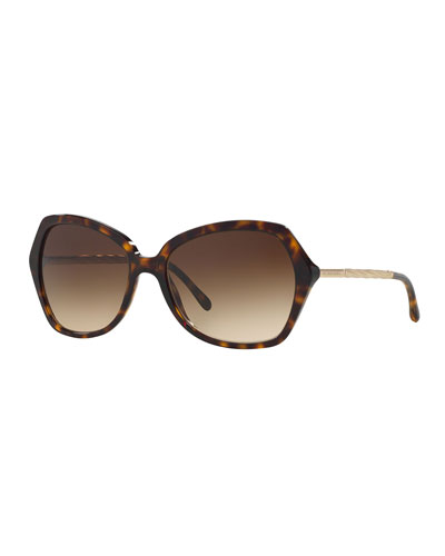 Acetate/Metal Butterfly Sunglasses