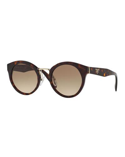 Round Acetate/Metal Sunglasses