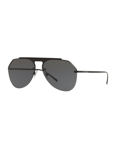 Metal Brow-Bar Aviator Sunglasses