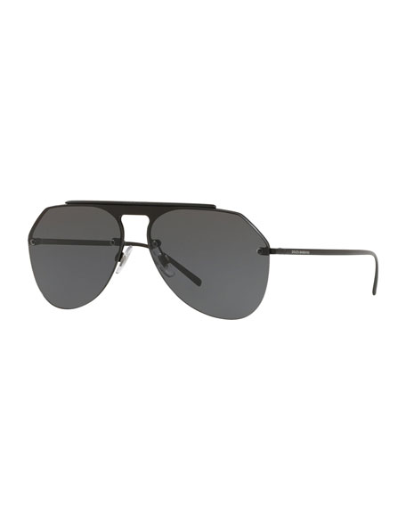 Image 1 of 1: Metal Brow-Bar Aviator Sunglasses