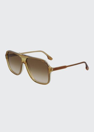 Guilloche Acetate Navigator Sunglasses
