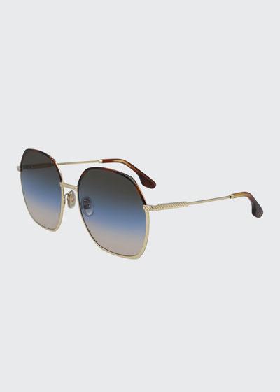 Chevron Square Metal Sunglasses