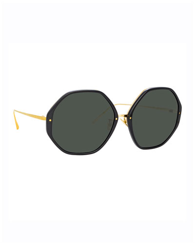 Round Acetate & 18k Plated Sunglasses