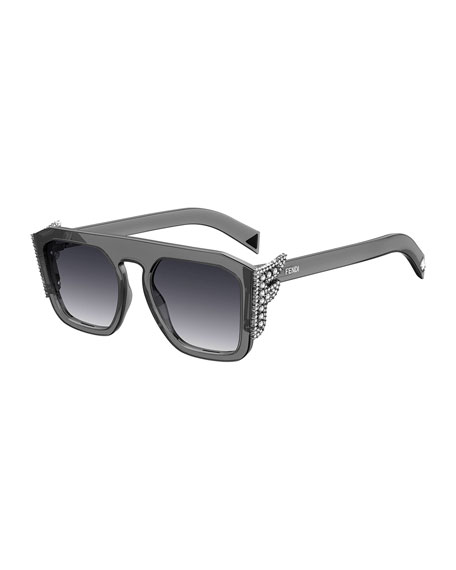 Image 1 of 1: Square Optyl Sunglasses w/ Crystal F Temples