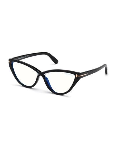Acetate Cat-Eye Optical Glasses, Black