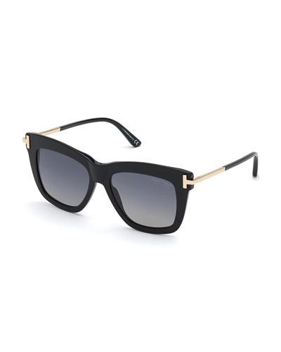 Dasha Oversized Square Acetate Sunglasses, Black