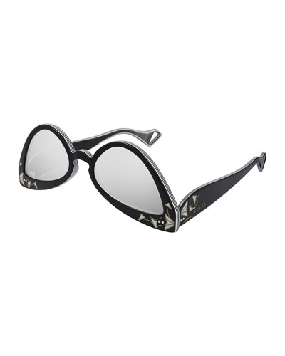Inverted Multilayer Acetate Cat-Eye Sunglasses
