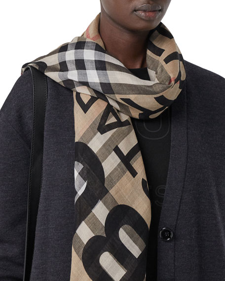 Image 1 of 1: Burberry Address Check Wool-Blend Gauze Scarf