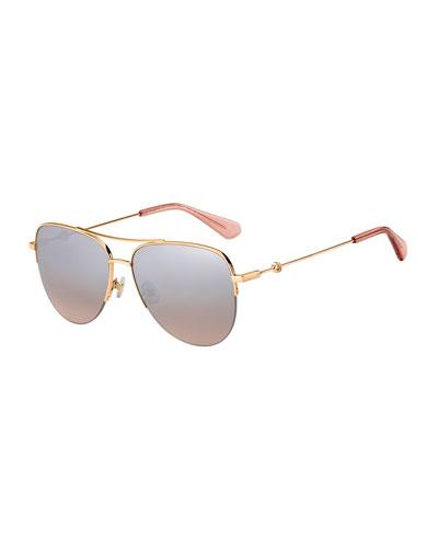 maisie stainless steel aviator sunglasses, pink