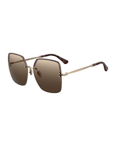 Tavi Rimless Square Metal Sunglasses