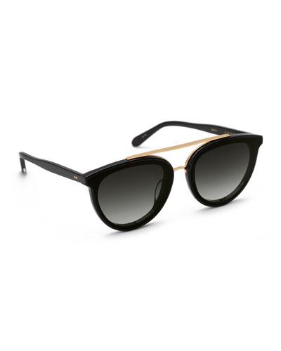 Clio Round Acetate Sunglasses, Black