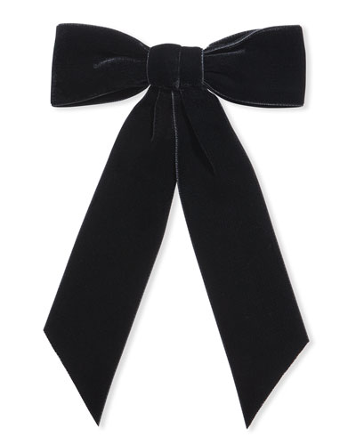 Wide Velvet Bow Barrette