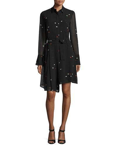 Asymmetric Dash-Print Chiffon Shirtdress, Black Multi