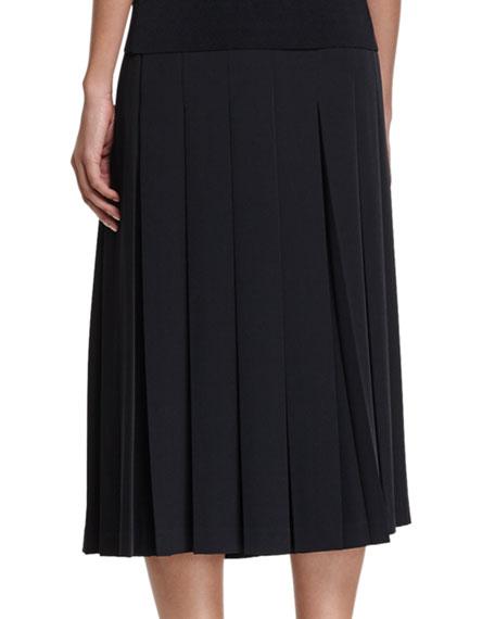 Wide-Leg Box-Pleated Crepe Pants, Black
