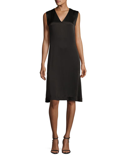 Sleeveless V-Neck Satin Shift Dress, Black