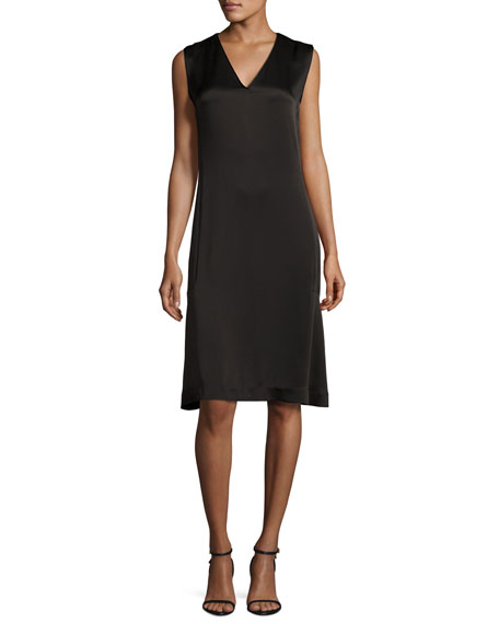 Sleeveless V-Neck Satin Shift Dress, Black