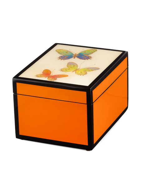 Butterfly Trio Hand-Painted Box, Orange