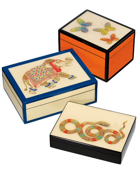 Hand-Painted Snake Box, Black
