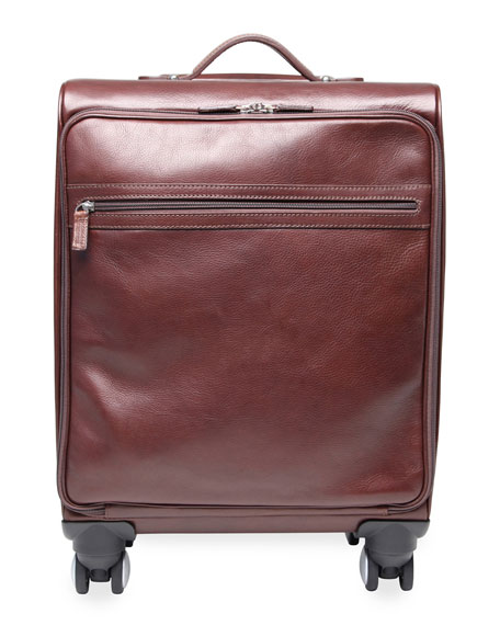 Four-Wheel Leather Carryon Bag Luggage, Brown